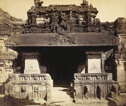 [Façade of main entrance of Kailas Hall, Hindu Cave XVI (Kailasanatha), Ellora.]